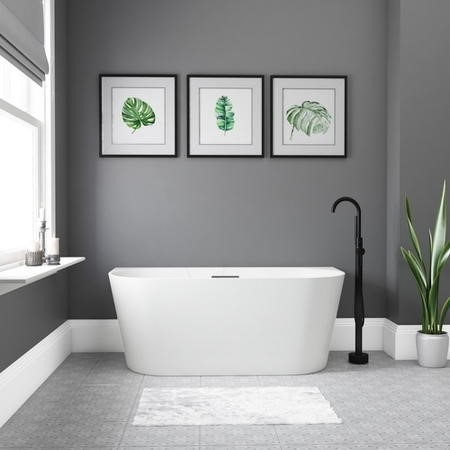 Gable Modern Back To Wall Freestanding Bath - 1500 x 745mm
