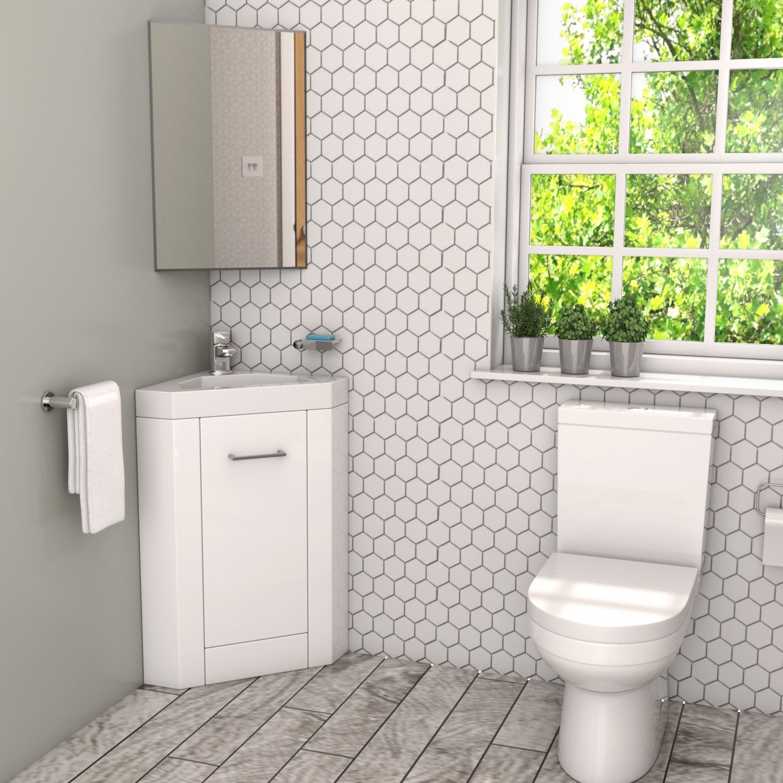 400mm White Cloakroom Vanity Unit With Basin Apollo Beba 25570 Appliances Direct