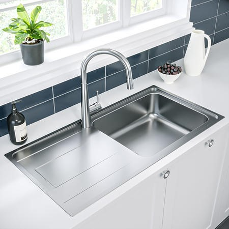 Enza Isabella Inset Stainless Steel Reversible 1 Bowl Kitchen Sink - 1000 x 500mm