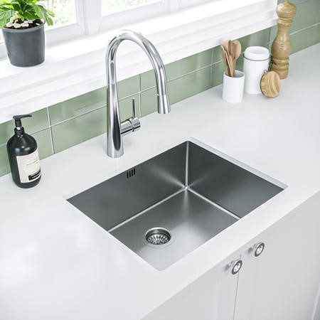 Enza Yara Undermount and Inset Stainless Steel 1 Bowl Kitchen Sink - 500 x 400mm