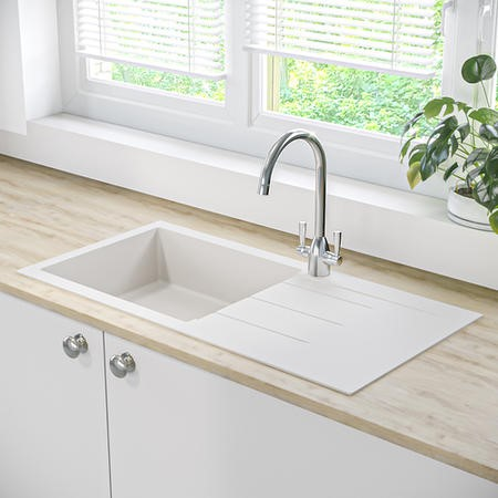 Single Bowl Inset White Granite Composite Kitchen Sink - Enza Madison