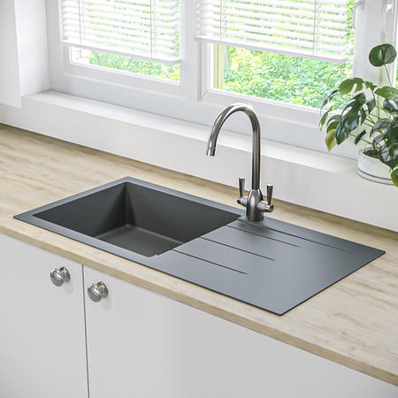 Single Bowl Grey Composite Granite Kitchen Sink with Reversible Drainer - Enza Madison