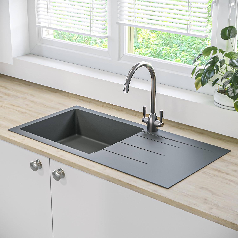 Essence Amelia Single Bowl Black Kitchen Sink with Reversible Drainer