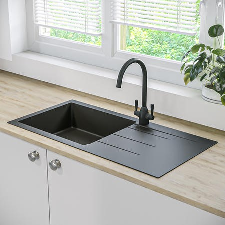 Single Bowl Inset Black Granite Kitchen Sink with Reversible Drainer - Enza Madison