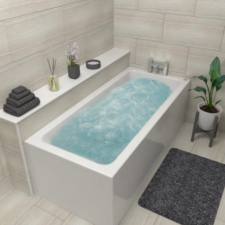 Rutland Square Single Ended Bath With 6 Jet Whirlpool System -1700 x 750mm