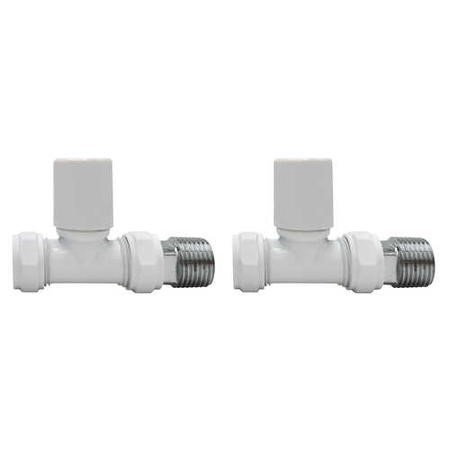 White Round Straight Radiator Valves - For Pipework Which Comes From The Floor