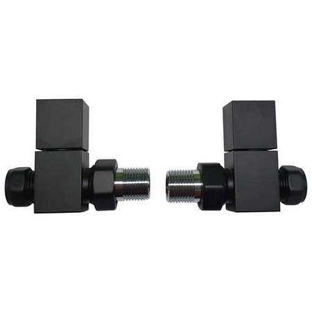 Matt Black Square Straight Radiator Valves - For Pipework Which Comes From The Floor
