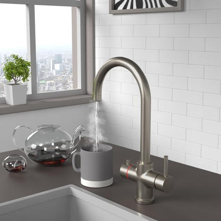 Pronto Brushed Nickel Twin Lever 3 in 1 Instant Boiling Water Kitchen Tap