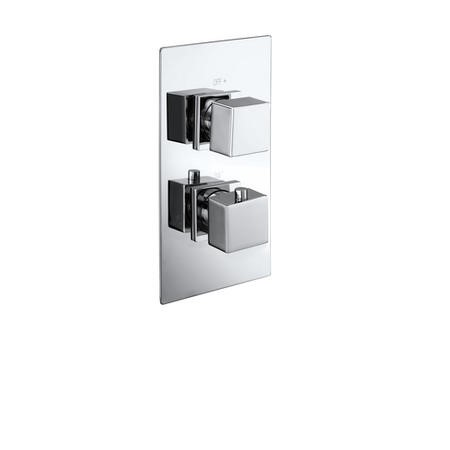 Cube square twin shower valve with diverter - 2 outlets