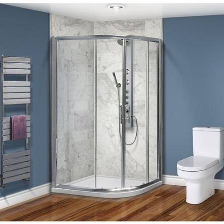 Offset Sliding Door Quadrant Enclosure 900 x 760mm - 6mm Glass - Aquafloe Range