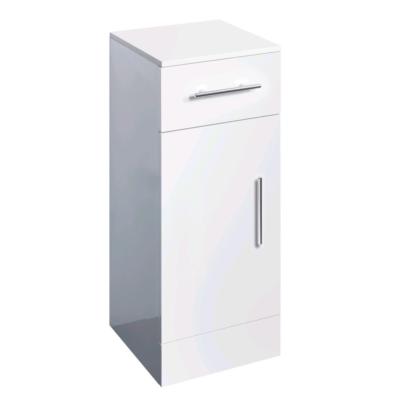 300mm Floor Standing Storage Unit White Gloss Door ...