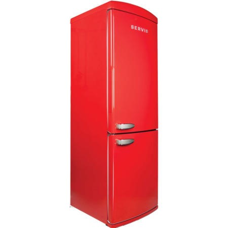 Servis C60185NFR Retro Right Hand Hinge Freestanding Fridge Freezer Red