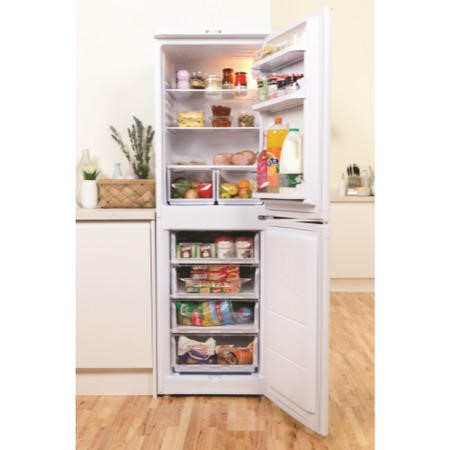 GRADE A1 - As new but box opened - Indesit CAA55 55cm Wide Freestanding Fridge Freezer in White