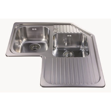 CDA 1 ¾ Bowl Right Hand Drainer Stainless Steel Chrome Kitchen Sink