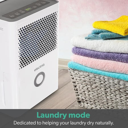 electriQ Quiet 10 litre dehumidifier with Humidistat for up to 3 bed house