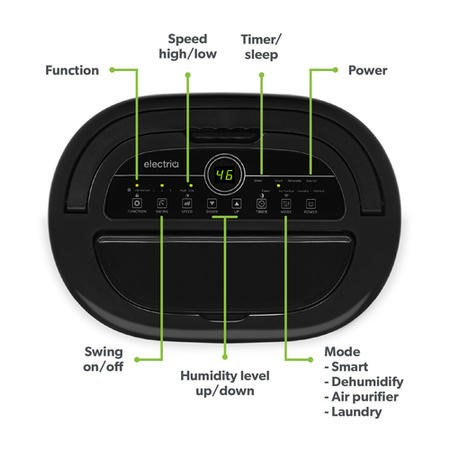 electriQ 12 litre Low Energy Premium Dehumidifier for up to 3 bed house with Digital Humidistat and UV Plasma Air Purifier