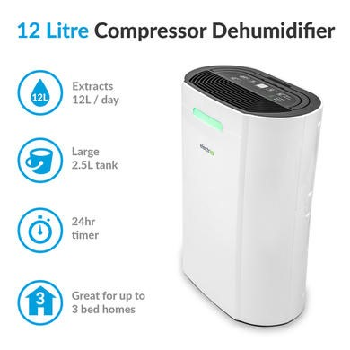 Dehumidifier 12L Air Dehumidifier Air Purifier Use in Rooms Up to 135 m³ Dryer