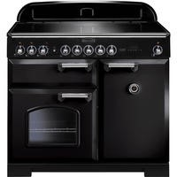 Rangemaster 95920 Classic Deluxe 100cm Electric Range Cooker with Induction Hob in Black and Chrome