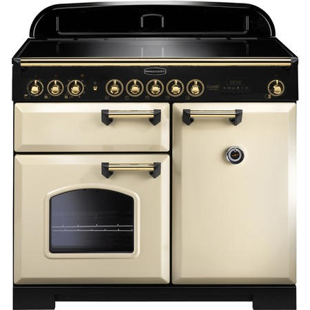 Rangemaster 115580 Classic Deluxe 100cm Electric Range Cooker With Induction Hob - Cream Brass
