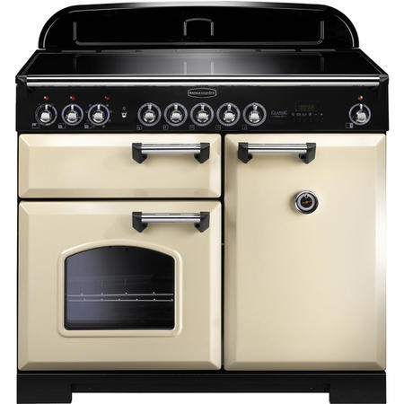 Rangemaster 95930 Classic Deluxe 100cm Electric Range Cooker with Induction Hob in Cream and Chrome