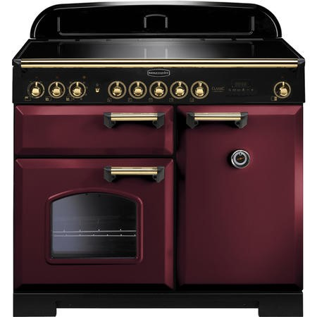 Rangemaster 115590 Classic Deluxe 100cm Electric Range Cooker With Induction Hob - Cranberry Brass