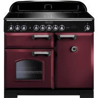 Rangemaster 95940 Classic Deluxe 100cm Electric Range Cooker with Induction Hob in Cranberry and Chrome