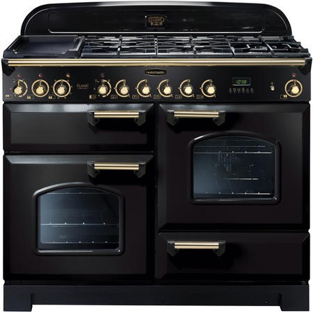 Rangemaster 81340 Classic Deluxe 110cm Electric Range Cooker With Ceramic Hob - Black And Brass