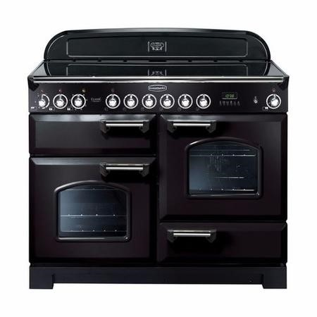 Rangemaster 81320 Classic Deluxe 110cm Electric Range Cooker With Ceramic Hob - Black And Chrome
