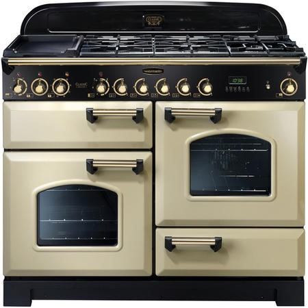 Rangemaster 81350 Classic Deluxe 110cm Electric Range Cooker With Ceramic Hob - Cream And Brass