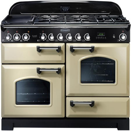 Rangemaster 81330 Classic Deluxe 110cm Electric Range Cooker With Ceramic Hob - Cream And Chrome