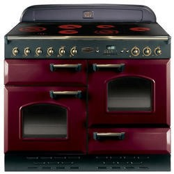 Rangemaster 84450 Classic Deluxe 110cm Electric Range Cooker With Ceramic Hob - Cranberry And Brass