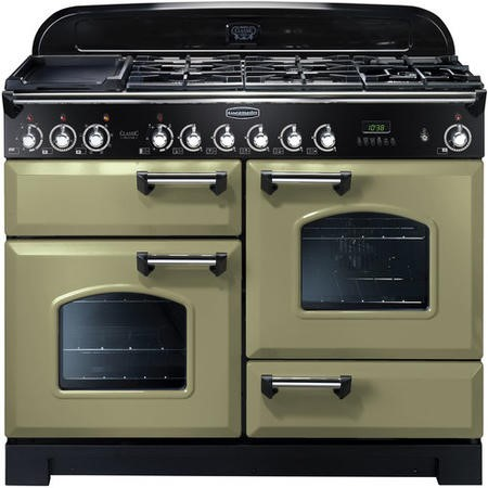 Rangemaster 100940 Classic Deluxe 110cm Electric Range Cooker with Ceramic Hob - Olive Green