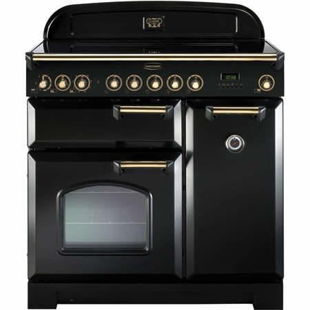 Rangemaster 81620 Classic Deluxe 90cm Electric Range Cooker With Ceramic Hob - Black And Brass