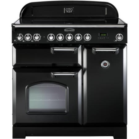 Rangemaster 81630 Classic Deluxe 90cm Electric Range Cooker With Ceramic Hob - Black And Chrome
