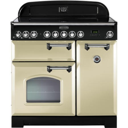 Rangemaster 81640 Classic Deluxe Ceramic 90cm Electric Range Cooker - Cream With Chrome Trim