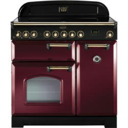 Rangemaster 84510 Classic Deluxe 90cm Electric Range Cooker With Ceramic Hob - Cranberry And Brass
