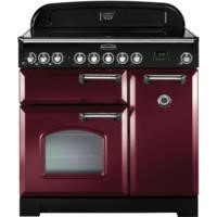 Rangemaster 84500 Classic Deluxe 90cm Electric Range Cooker With Ceramic Hob - Cranberry And Chrome