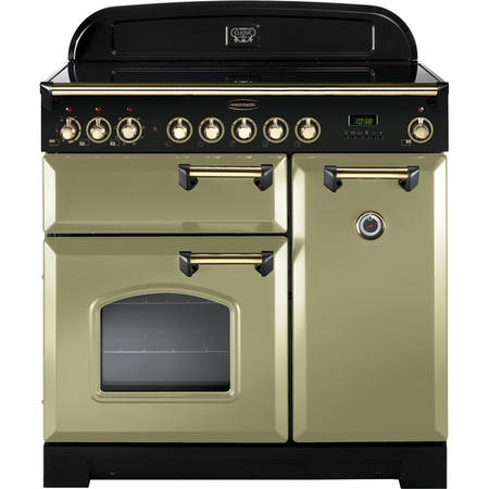 Rangemaster 114730 Classic Deluxe 90cm Electric Range Cooker With Ceramic Hob - Olive Green Brass