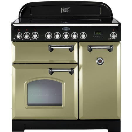 Rangemaster 100890 Classic Deluxe 90cm Electric Range Cooker with Ceramic Hob - Olive Green