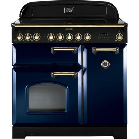 Rangemaster 114260 Classic Deluxe 90cm Electric Range Cooker With Ceramic Hob - Blue Brass