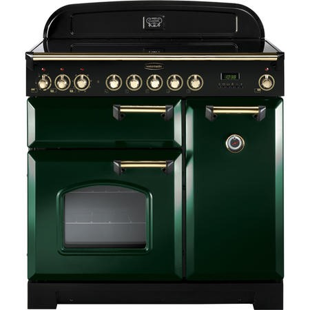 Rangemaster 114240 Classic Deluxe 90cm Electric Range Cooker With Ceramic Hob - Green Brass