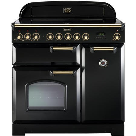 Rangemaster CDL90EIBLB Classic Deluxe 90cm Electric Range Cooker with Induction Hob - Black & Brass