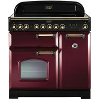 Rangemaster 90290 Classic Deluxe Cranberry And Brass 90cm Electric Range Cooker With Induction Hob