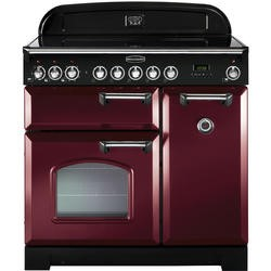 Rangemaster Classic Deluxe Induction 90cm Electric Range Cooker Cranberry & Chrome 90240 G56572