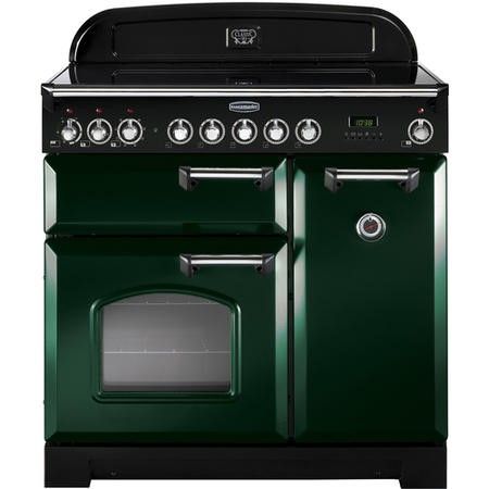 Rangemaster 113690 Classic Deluxe 90cm Electric Range Cooker With Induction Hob - Green Chrome