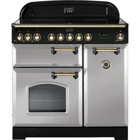 Rangemaster 114700 Classic Deluxe 90cm Electric Range Cooker With Induction Hob - Royal Pearl Brass