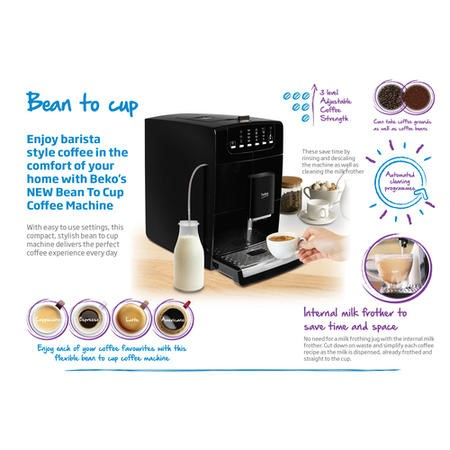 Beko CEG7425B Barista Bean to Cup Coffee Machine with Frother - Black