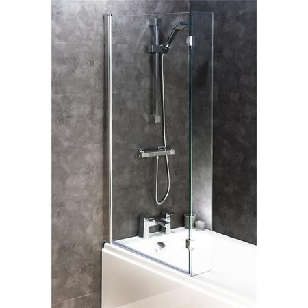Square Bath Shower Screen with Flipper Panel