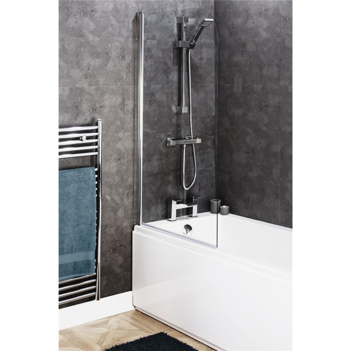 Easy Clean Curved Top Bath Screen 8mm Glass CEL007 | Appliances Direct