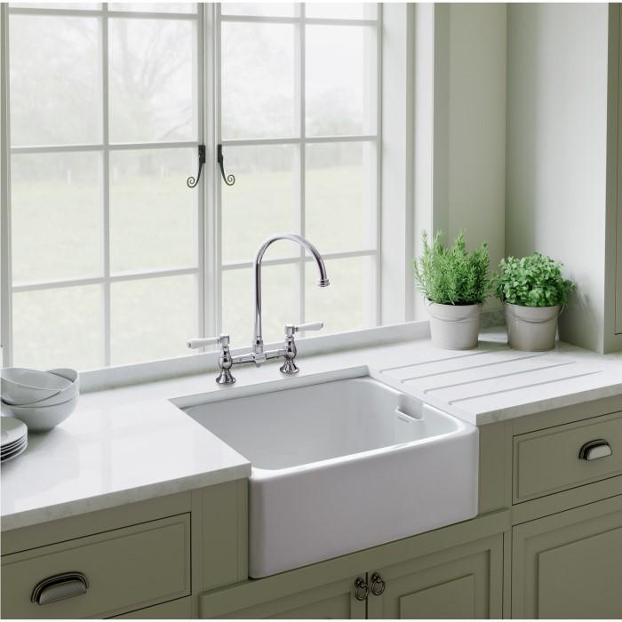 Cheap belfast kitchen sink deals at appliances direct rangemaster cfbl595wh farmhouse belfast ceramic sink with waste kit workwithnaturefo